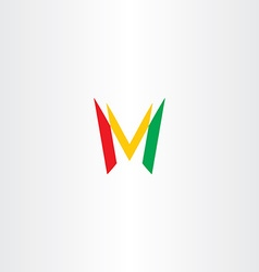 colorful letter m red green yellow icon logo vector image