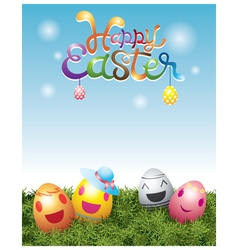 Easter Eggs with Smiling Face vector image