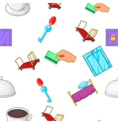Hostel pattern cartoon style vector