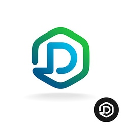 Letter D in a hex shape one line style logo vector image vector image