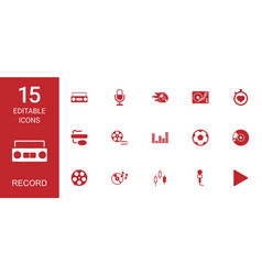 15 record icons vector