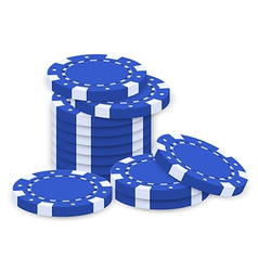 A group of blue poker chips vector