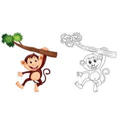 Animal outline for monkey hanging on wood vector
