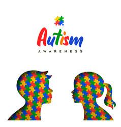 Autism awareness day paper cut children puzzle vector