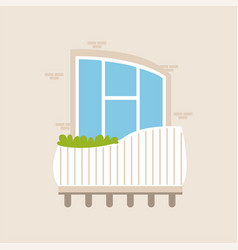 Balcony of a modern house with plants vector