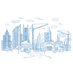 big city landscape with different buildings vector image vector image