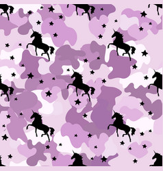black silhouette unicorn camouflage pink vector image