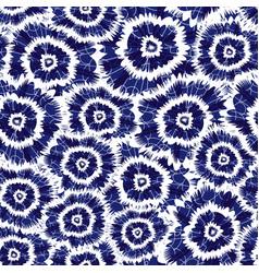 Blue indigo shibori circle flowers abstract vector