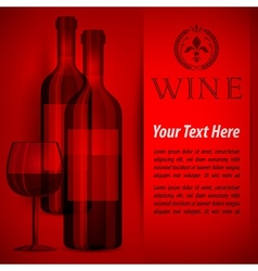 Bottles wine and glass on red vector image