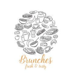 breakfast round banner for menu design vector image