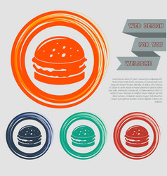 burger sandwich hamburger icon on the red blue vector image