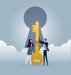 business teamwork jigsaw the keys together vector image