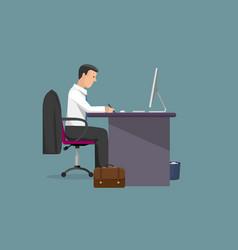 Businessman writes pen vector