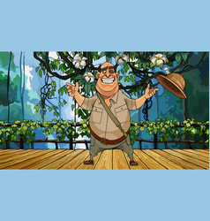 Cartoon cheerful male traveler stands on a wooden vector