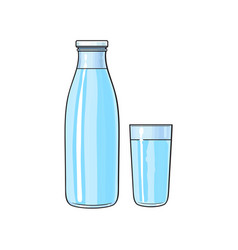 Cartoon glass bottle cup of cold water vector