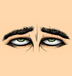 Cartoon image of tired eyes vector
