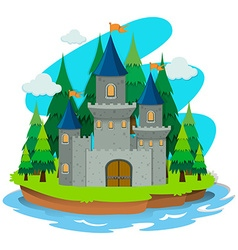 Castle building on the island vector
