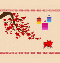 chinese new year 2019 background with cherry vector image
