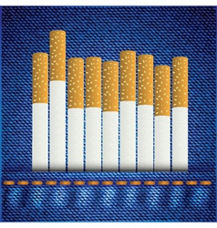 Cigarettes on jeans background vector