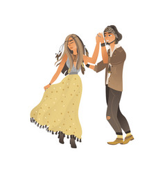 couple in stylish boho clothes stands and holds vector image