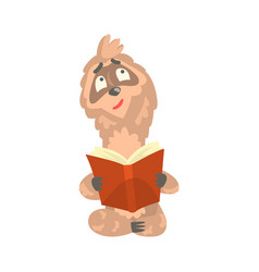 Cute cartoon sloth character reading a book funny vector