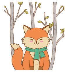 cute fox woodland character vector image