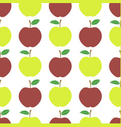 cute fresh red and yellow apple seamless pattern vector image