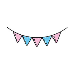 Cute party flag hanging design vector