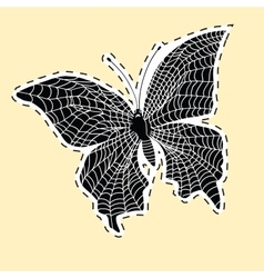 Dark butterfly web label sticker vector