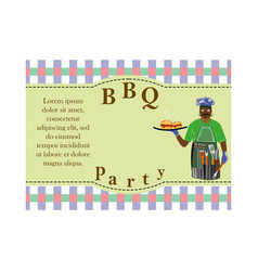 design elements for barbecue invitation card with vector image