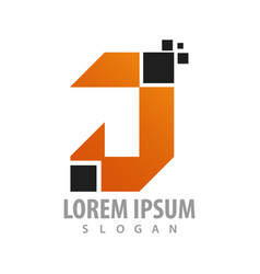 digital pixel initial letter j logo concept vector image