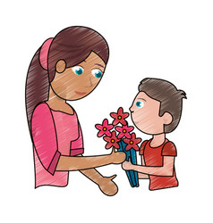 Drawing son gift bouquet flower to mother vector