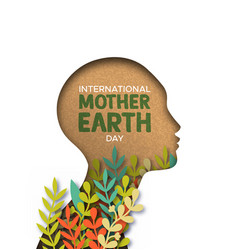 earth day card of papercut woman head with leaves vector image
