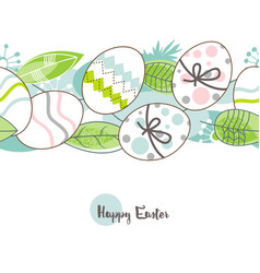 easter eggs pattern happy greeting card vector image