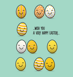 easter greeting card with smiley eggs vector image