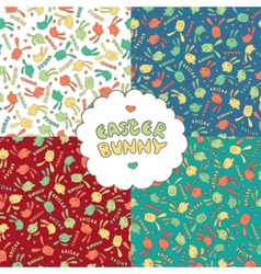Easter patterns with Easter bunnies vector