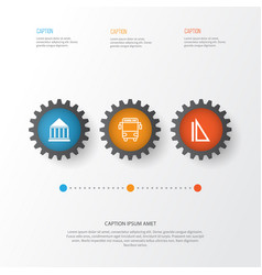 Education icons set collection of transport vector