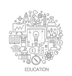 education in circle - concept line vector image