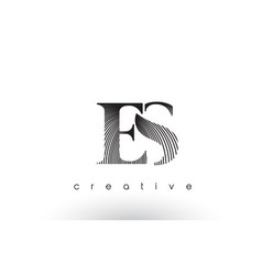 Es logo design with multiple lines and black and vector