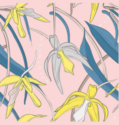 exotic botanical tender orchid bouquet pattern vector image