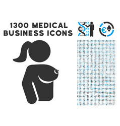 Female breast icon with 1300 medical business vector