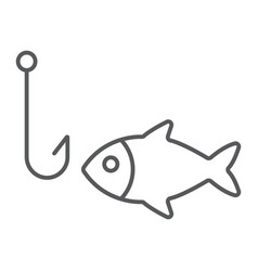 fishing thin line icon animal and underwater vector image