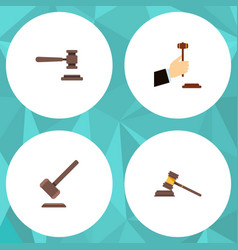 Flat icon hammer set of tribunal law legal and vector