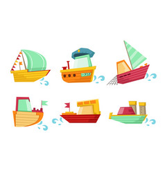 flat set marine vessels with adorable vector image