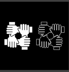Four hand holding together team work concept icon vector