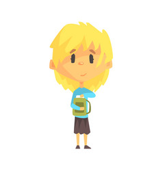 Girl with short blond hair and backpack primary vector