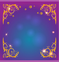 Gold holiday magic frame vector