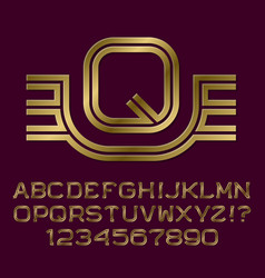 golden letters numbers initial monogram with wings vector image
