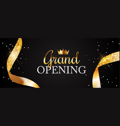 grand opening card with golden ribbon background vector image