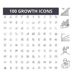 growth line icons signs set outline vector image